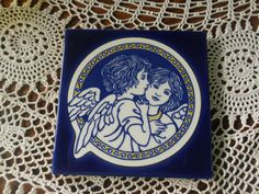 Angelic Cherub Angel Cobalt Blue And White 6X6  Ceramic Tile  Coaster Holiday Gift Giving Idea Christmas Angel