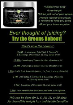 Greens reboot!  It works!  New you it works supplement   Http://kassiefitandfirmwraps.myitworks.com