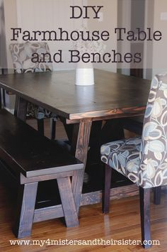 Love this! My 4 Misters & Their Sister: DIY Handmade Farmhouse Table and Benches