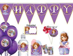 INSTANT DOWNLOAD Sofia The First Party Package, Sofia The First Birthday Pack Printable Sofia The First Birthday Party, 4th Birthday Parties, 1st Birthday Girls, Birthday Ideas, Princess Sofia Party, Princess Birthday, Royal Tea Parties, Princesa Sophia, Childrens Party
