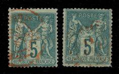 1878/9 - 2x N°75 OBL. CAD ROUGE DE PARIS (JOURNAUX P.P.)
