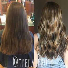 BEFORE & AFTER: toffee balayage  #nofilter #spalon #spalonmontage #salon #hayleyatspalon #thehairbuth #cosmetology #cosmetologist #hair #haircut #loreal #lorealpro #lorealprous #haircolor #color #woodburyhair #woodburyhairstylist #mnstylist #colorproof #kevinmurphy #career #mnhair #askforhayley #cut #hairstylist #minnesotahair #twincities #licensedtocreate #naturallight #balayage