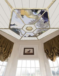 """PAINTED CEILING - Sketch for a new ceiling in an 18th c. hexagonal teahouse. Last remaining item of two magnificent but once demolished 17th c. country estates with majestic gardens, ornamental lakes and spectaculair menageries, portrayed by Hondecoeter. Tropical birds reflecting the Dutch craze for Natural History collections, zoo's and aviaries and the tradition of E&W. India Company personnel trading animals on the side, to supply them. – """"Other ones Feathers"""" 2016 - Peter Korver…"""