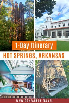 Only passing through Hot Springs Arkansas? Here's a Hot Springs Itinerary to make sure you see all the highlights in just one day. | Arkansas Travel Tips | Road Trip USA | Arkansas Road Trip | Arkansas Travel | Arkansas Photography | Arkansas Beautiful Places | Arkansas Travel Destinations | Arkansas Outdoors | Arkansas Travel Tips | Hot Springs Arkansas Day Trip | Arkansas Itinerary | #hotspringsarkansas #arkansasroadtrip #arkansas One Day Trip, Day Trips, Travel Tips, Travel Destinations, Travel Ideas, Arkansas Vacations, Road Trip Photography, Hot Springs Arkansas, Road Trip Essentials