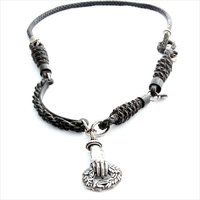 Gem Kingdom sterling silver necklace with elements of silver, leather & polyester.