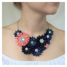 Navy Necklace, Navy Blue Necklace, Navy Blue and Coral Necklace, Navy... ❤ liked on Polyvore featuring jewelry, necklaces, flower statement necklace, statement necklace, flower jewelry, coral flower necklace and coral jewellery