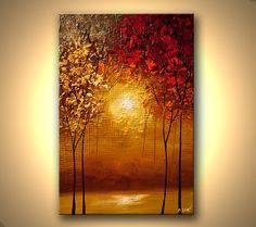 Canvas Art, Modern Wall Art, Stretched, Embellished & Ready-to-Hang Print - Mystic River - Art by Osnat - Bilder - Contemporary Abstract Art, Contemporary Artists, Modern Contemporary, Hanging Art, Canvas Art Prints, Canvas Canvas, Wall Prints, Landscape Paintings, Tree Paintings