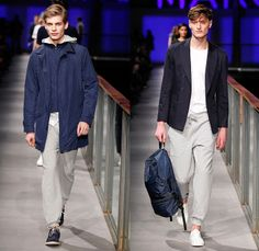 MANGO 2014 Spring Summer Mens Runway Collection - 080 Barcelona Fashion Week - Denim Jeans Rollup Shirt Tote Bag Trucker Jacket Retro Faded Acid Wash Shorts Knit Sweater Jumper Multi Panel Blazer Sportcoat Khakis Chinos Parka Outerwear Coat Jogging Sweatpants Peacoat White Suit