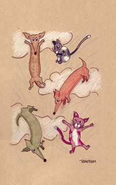 Raining Cats and Dachshunds by LongDogGeneral on Etsy, $15.00