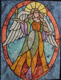 Stained Glass Quilt: Angel of Light, approx, 28 x by Ravenwood Designs Stained Glass Quilt, Stained Glass Angel, Faux Stained Glass, Stained Glass Designs, Stained Glass Projects, Stained Glass Patterns, Stained Glass Windows, I Believe In Angels, Inspiration Art