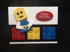 S creative crew: lego my cake! Lego Birthday Cards, Birthday Cards For Boys, Handmade Birthday Cards, Boy Cards, Kids Cards, Lego Card, Punch Art Cards, Paper Punch, Scrapbook Cards