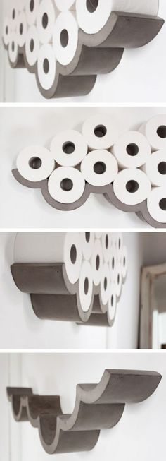 bathroom decoration on a budget Awesome Products: Cloud concrete toilet roll holder Concrete cloud shaped toilet paper holder. Like a cloud! Diy Bathroom Decor, Bathroom Storage, Bathroom Art, Bathroom Interior, Bathroom Designs, Bathroom Cabinets, Decorating Bathrooms, Shower Storage, White Bathroom
