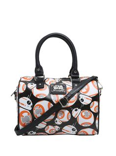 "BB-8 is a most loyal droid, so who better to watch over your personal items than him? This black pebbled faux leather barrel bag from  Star Wars: The Force Awakens  has an allover print of BB-8 on the outside with a Star Wars x Loungefly plaque on one side and contrasting black rolled handles and an optional adjustable crossbody strap. Inside the zipper closure are one pouch pocket and one zipper pocket.     Polyurethane  Approx. 10"" x 9"" x 5""  5&quo..."