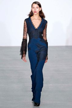 Loved the construction and feminine detailing of this sleek romantic jumpsuit from the Antonio Berardi show. #LFW