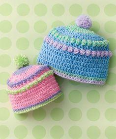 Baby will look fashionable in this colorful hat perfect for shopping or visiting grandma. Make a few now and have them ready for the next shower!