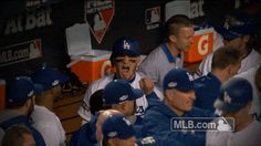 New trendy GIF/ Giphy. mlb baseball excited yeah celebration celebrate los angeles dodgers dodgers pumped game 3 nlcs la dodgers pumped up fired up tongue out yeahh yasmani grandal grandal tongues out tongue touch. Let like/ repin/ follow @cutephonecases