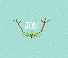 JOY Antlers  21-seafoam snow fabric by drapestudio on Spoonflower - custom fabric