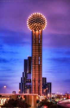 Reunion Tower ~ Dallas, Texas.  There is a revolving restaurant on the top with a panoramic view of the city.