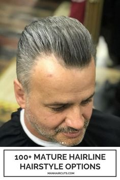 This silver-grey hairstyle for men looks very good paired with a mature hairline. Ask for an equally trimmed cut overall your hair and create an M-shaped outline for your front part. #menmaturehairline #baldingmenhairstyle #mensilvergrey #menhairstyle #manhaircuts