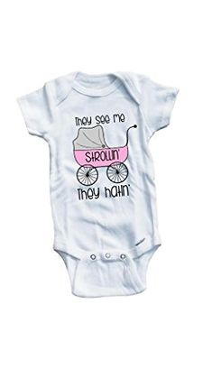Baby Tee Time Girls They see me strollin They hatin funny music One piece 612 Months White >>> You can get additional details at the image link.