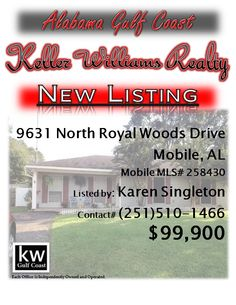 9631 North Royal Woods Drive, Mobile, AL...MLS# 258430...$99,900...Very well maintained and updated home in Trailwood. Low maintenance vinyl siding, freshly painted inside, hardwood and ceramic tile (in baths), and great layout/floor plan. Outside, there is a large, fenced back yard, 2 storage buildings, covered patio. Roof replaced in 2006 (per owner). Please contact Karen Nicholson Singleton at 251-510-1466.