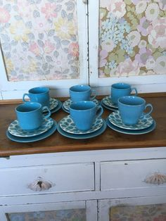 Lovely Retro Vintage Blue Polka Dot Tams Ware Pottery Teacups Saucers Plates