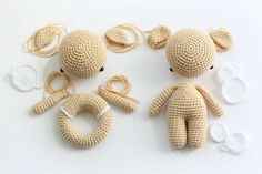 Amigurumi bear and teddy rattle - free crochet patterns