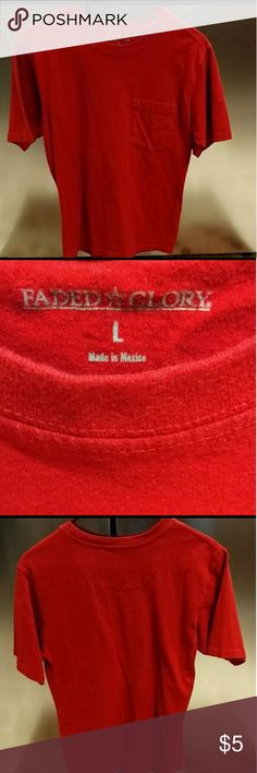 Red Faded Glory T-Shirt Plain Red Faded Glory Pocket Tee Size Large Excellent Condition!  💰 BUNDLE SAVE 💲 Faded Glory Shirts Tees - Short Sleeve