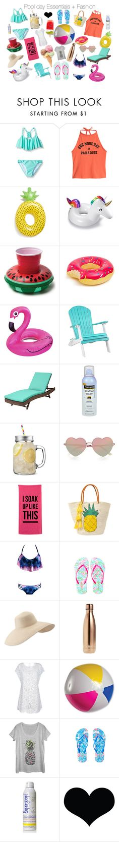 """Pool Day Essentials + Fashion"" by lilakaufman ❤ liked on Polyvore featuring Seafolly, Big Mouth, DutchCrafters, Improvements, Neutrogena, River Island, Sensi Studio, Lilly Pulitzer, Eric Javits and S'well"