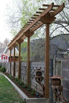 29 DIY Backyard Pergola Trellis Ideas to Enhance The Outdoor Life 29 Pergola-Spalier-Ideen für den G Backyard Privacy, Outdoor Pergola, Backyard Fences, Diy Pergola, Pergola Kits, Pergola Ideas, Backyard Ideas, Arbor Ideas, Fence Ideas