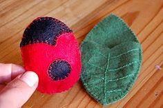 sweet ladybug and leaf pouch