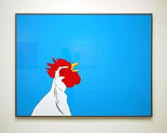 """Why can't you paint a @&$^%* rooster? Everybody likes roosters!""; 2010; acrylic on Plexi; 36 x 48 in. (91.4 x 121.9 cm)"