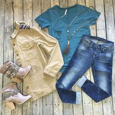 """""""#NEWARRIVALS  #ZSupply #Tee $19.99 S-L #Shoulder #Trim #Jacket $34.99 S-L #FlyingMonkey #SkinnyJeans $74.99 24-30 #NotRated #Cottonwood #Booties $74.99  #PinkPanache #Necklace $76.99 We #ship! Call to order! 903.322.4316 #shopdcs #goshopdcs #instashop #shopfall #shoplocal #october #love"""" Photo taken by @daviscountrystore on Instagram, pinned via the InstaPin iOS App! http://www.instapinapp.com (10/05/2015)"""