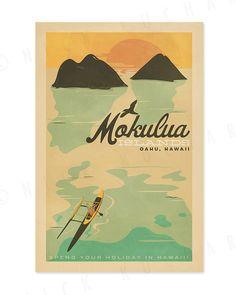 Mokulua îles, Oahu - Print Hawaï rétro 12 x 18