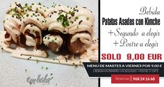Hoy en nuestro menú diario te incluimos, como uno de nuestros tres primeros a alegir  nuestras patatas asadas con una estupenda salsa Kimche ¿ apetece? pues reservas ya 968241668 ¡ estamos en la flota , Murcia!