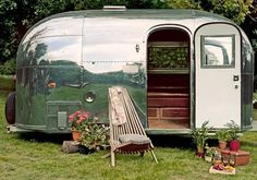 An Airstream Bambi. The Dumbo Feather crew have their own airstream.wonder where they found it? Vintage Campers, Camping Vintage, Retro Campers, Cool Campers, Vintage Caravans, Vintage Travel Trailers, Classic Campers, Small Campers, Happy Campers