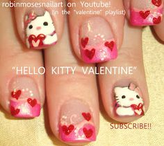 Valentine Kitty nails by Robin Moses. My little girl is loving on these!