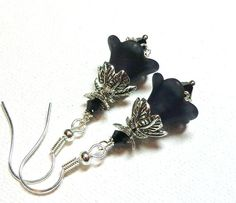 Jewelry, Earrings Black, Silver, Lucite Petunia Flowers, Swarovski Jet Black Austrian Crystals FREE SHIPPING. $6.00, via Etsy.