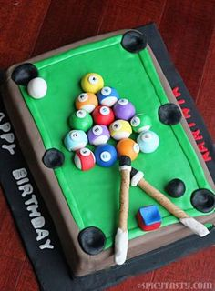 How to make a Pool Table/Billiards Fondant Cake?   Spicy Tasty