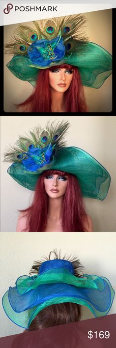 Royal Cobalt Blue Green Peacock Derby Hat This is a light off your face style with an adjustable lining. You will get noticed in this one... Jenifer Buckley Hats Accessories Hats