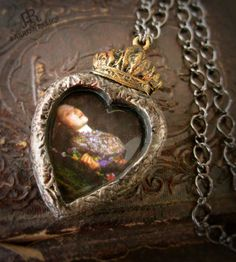 Ophelia  Sacred Heart Pictorial Necklace by ParrishRelics on Etsy, $72.00