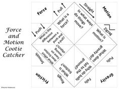 Force and Motion Cootie Catcher freebie