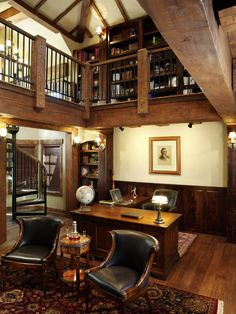 home office with library upstairs