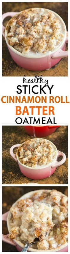 Sticky Cinnamon Roll Batter Oatmeal- Healthy yet this tasting EXACTLY like cinnamon roll batter!- Perfect hot or cold- Sugar free and protein packed option! {gluten free + vegan} -thebigmansworld.com
