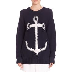 NO. 21 Mercy Anchor Sweater ($625) ❤ liked on Polyvore featuring tops, sweaters, apparel & accessories, navy, oversized sweaters, navy blue pullover sweater, sweater pullover, navy blue sweater und anchor sweater