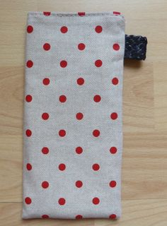 Etui à lunettes en tissu, couleur beige, points rouges : Etuis, mini sacs par alsace-gourmets