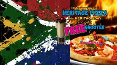 Order our special HERITAGE #PIZZA for #HeritageDay & get a #FREE shooter! VALID ALL DAY 24 September  #KZNSouthCoast Pizza Special, 24 September, Day, Free