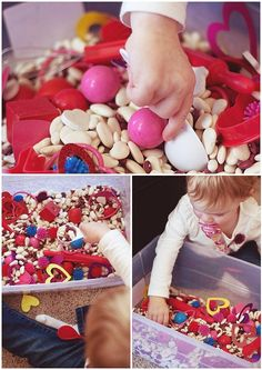sensory bins for toddlers. We do once a week as part of our 'little school' (30 mins a day of structured activities). This website has some great ideas.