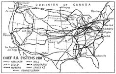 Map of USA (Chief Railroad Systems 1910) 1942