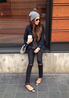 ripped jeans, beanie